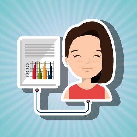 demografia: estadísticas de infografía ilustración vectorial de dibujos animados de la mujer