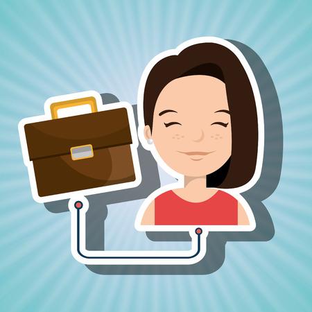 cartoon suitcase: woman cartoon suitcase business portfolio vector illustration