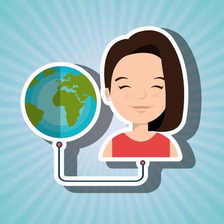 woman cartoon globe planet connected vector illustration