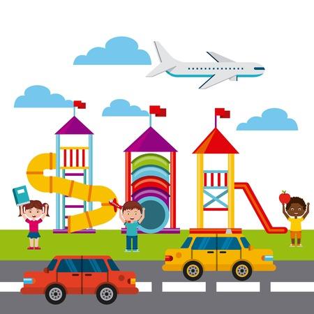 escuela infantil: hermoso parque infantil con niños jugando ilustración vectorial de diseño