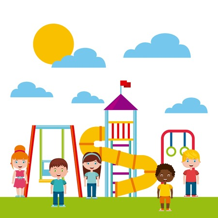 ベクトル イラスト デザインを遊ぶ子供たちと美しい子供遊び場