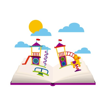 beautiful children playground with books playing vector illustration design Illustration