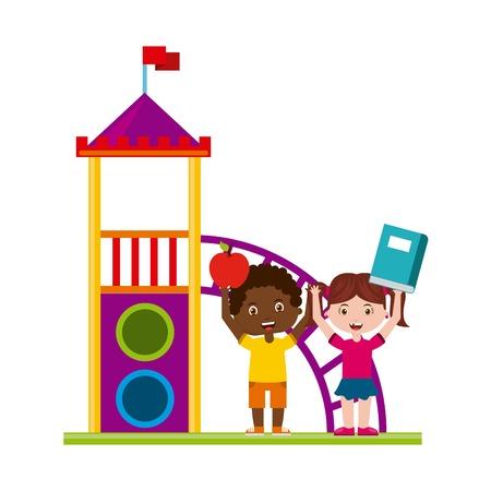 escuela infantil: hermoso patio de los niños que juegan con los libros de ilustración vectorial de diseño
