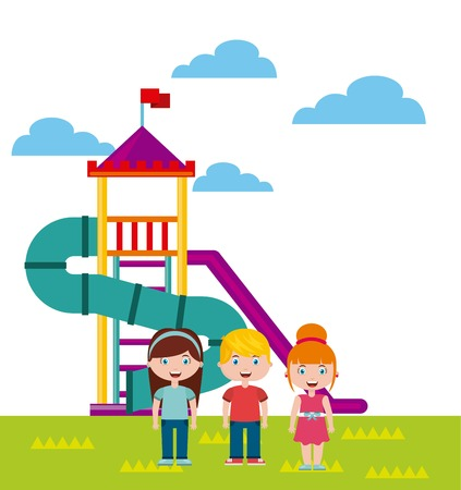 beautiful children playground with kids playing vector illustration design Illustration