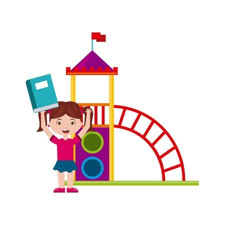 schoolyard: beautiful children playground with kids playing vector illustration design Illustration