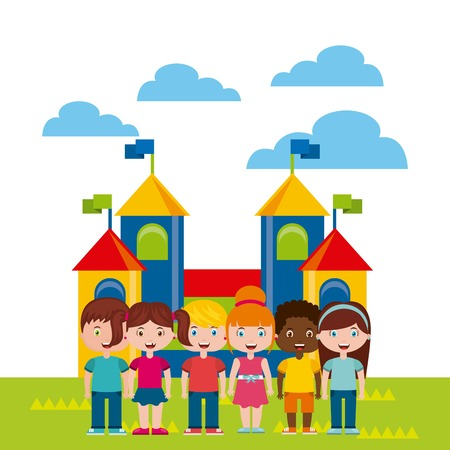 beautiful children playground with kids playing vector illustration design Illustration