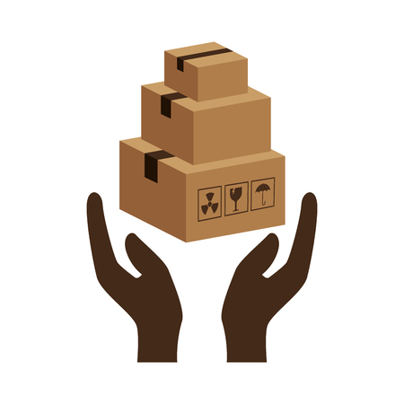 hands holding a carton box product package. vector illustration