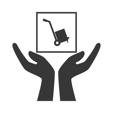 hands with handcart package icon silhouette. vector illustration