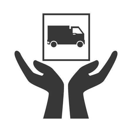 package icon: hands with cargo truck package icon silhouette. vector illustration