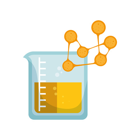 measurement cup chemistry bottle with yellow liquid and germ. vector illustration