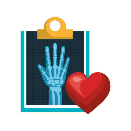 radiology: X ray digital medical healthcare radiology and red heart. vector illustration Illustration