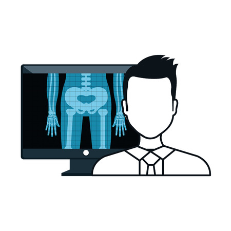 radiology: X ray digital medical healthcare radiology and avatar man doctor. vector illustration Illustration