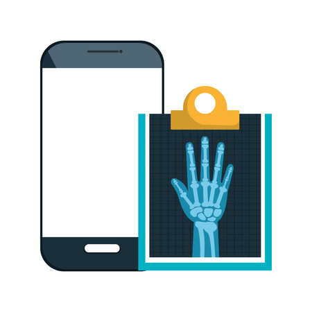 radiology: smartphone device and X ray digital medical healthcare radiology. vector illustration