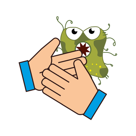human hand with bacteria germs cartoon. colorful design. vector illustration Illustration