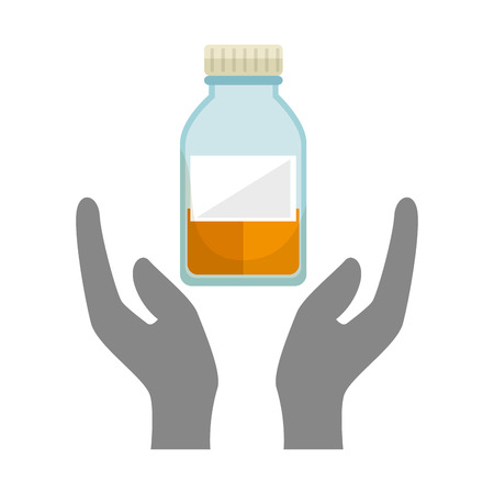 hands holding a chemistry bottle with liquid. vector illustration