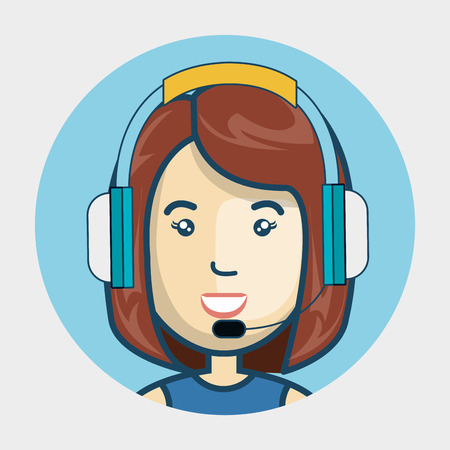 sales representative: avatar woman with headphones customer call center. colorful design. vector illustration Illustration