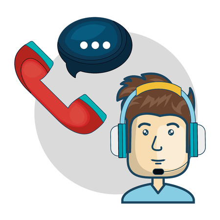 sales representative: avatar man with headphones customer call center. colorful design. vector illustration Illustration