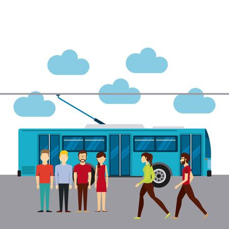 rout: group of people in transport terminal vector illustration design Illustration