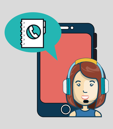 sales representative: smartphone with directory icon and avatar woman with headphones customer call center. colorful design. vector illustration Illustration