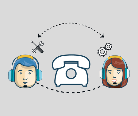 sales representative: avatar woman and man with headphones customer call center. colorful design. vector illustration