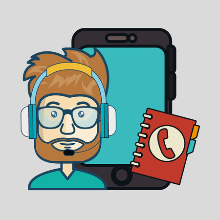sales representative: smartphone device and avatar man with headphones customer call center and directory book. colorful design. vector illustration