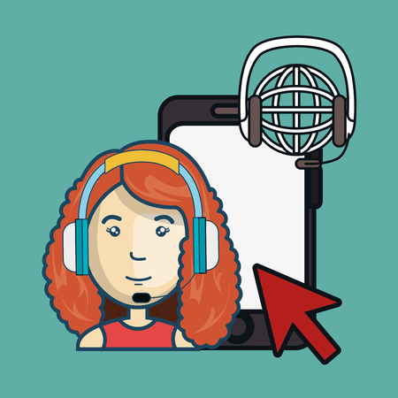 sales representative: smartphone with global network sphere icon and avatar woman with headphones customer call center. colorful design. vector illustration Illustration