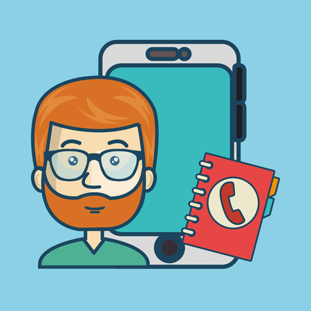 directory: samrtphone and avatar man with directory book. colorful design. vector illustration