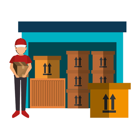 avatar delivery holding a box and storage package store. colorful design. vector illustration