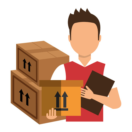 avatar delivery man with carton boxes and report shipping table. colorful design. vector illustration