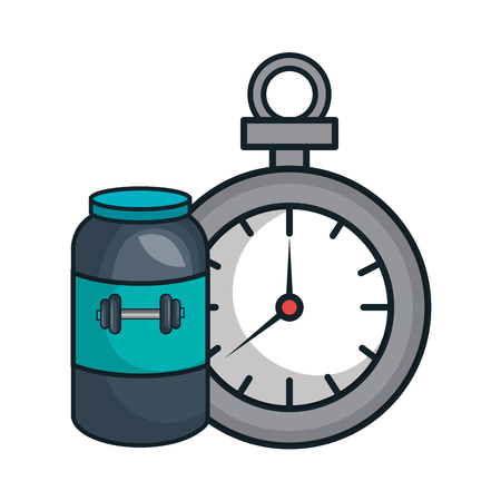 supplement: protein supplement bottle with chronometer time device icon. vector illustration Illustration
