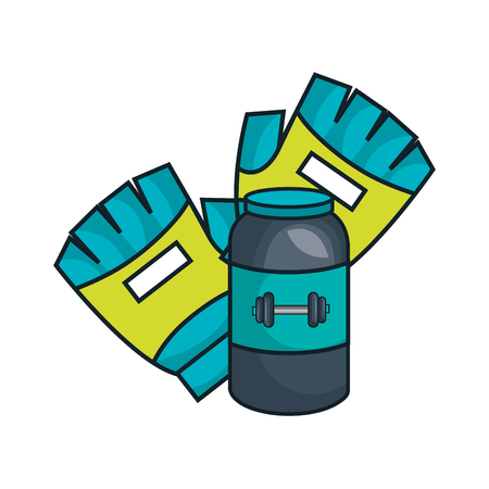 supplement: protein supplement bottle with sport gym gloves equipment icon. vector illustration Illustration