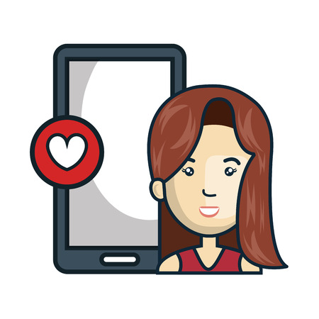 avatar woman smiling and smartphone with hearth shape button icon. vector illustration