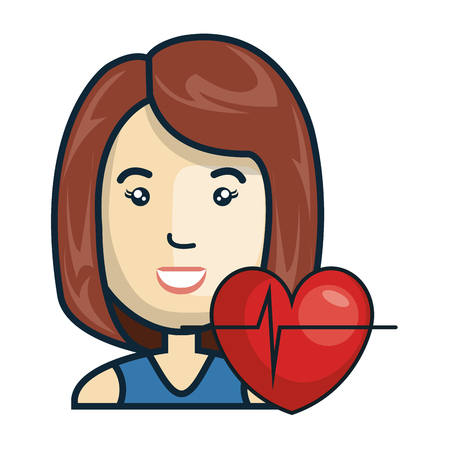 cardio: avatar woman smiling with cardio pulse heart. vector illustration