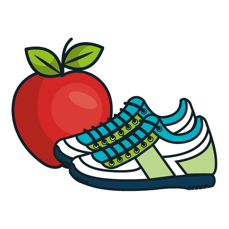 sportschoenen gymnastiekuitrusting en rood appelpictogram. vectorillustratie Vector Illustratie