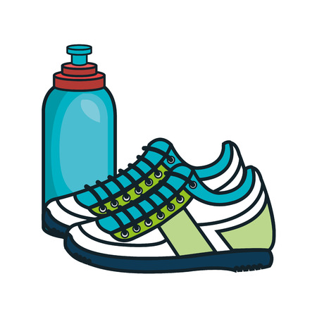 gym equipment: sport shoes gym equipment and water bottle icon. vector illustration