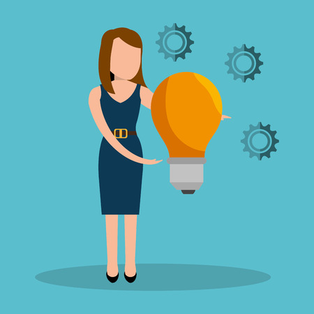 yellow bulb: avatar woman wearing blue dress with yellow bulb light and gears. vector illustration