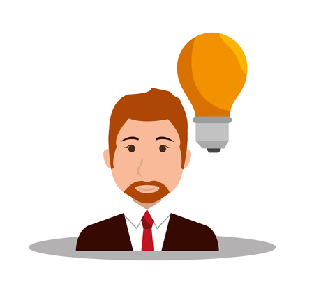 yellow bulb: avatar businessman wearing suit and tie with yellow bulb light. vector illustration