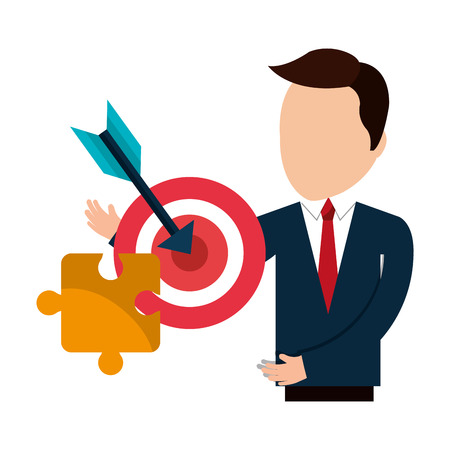 influential: avatar businessman wearing suit and tie with red target and jigsaw yellow puzzle. vector illustration Illustration