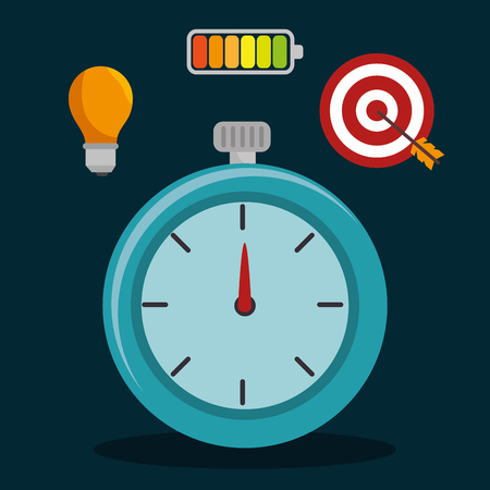 chronometer: chronometer time device with efficient management icons. vector illustration