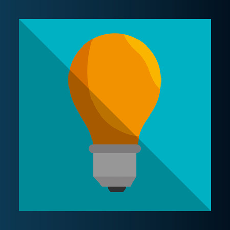 yellow bulb: yellow bulb light over blue frame background. vector illustration