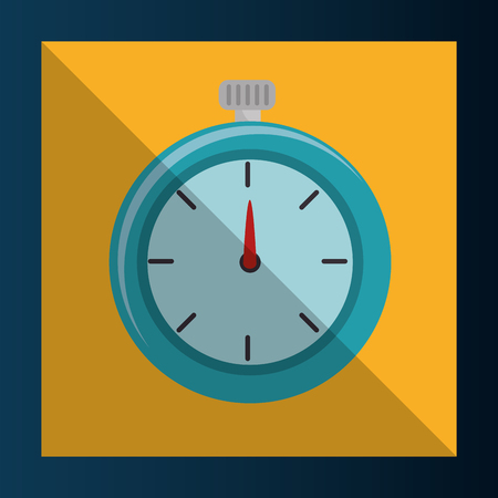 chronometer: chronometer count time device over yellow frame background. vector illustration