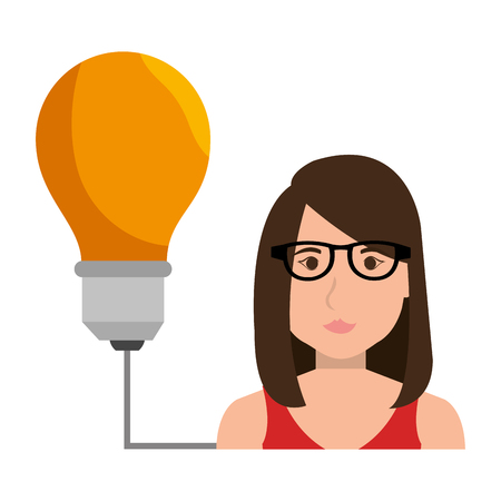 yellow bulb: avatar businesswoman wearing glasses and yellow bulb light. vector illustration Illustration