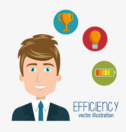 work less: avatar man smiling wearing suit and tie and efficiency icon set. colorful design. vector illustration
