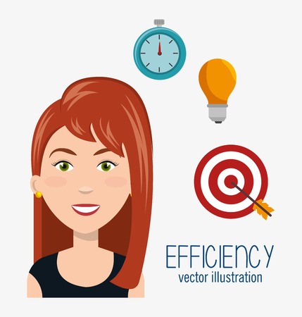 work less: avatar woman smiling and efficiency icon set. colorful design. vector illustration Illustration