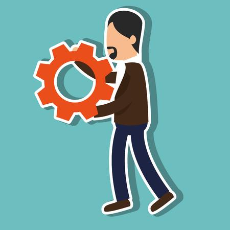 avatar man holding a gear wheel over blue background. vector illustration