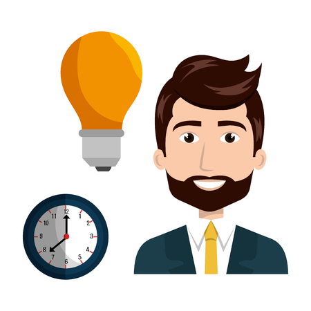yellow bulb: avatar businessman wearing suit and tie with yellow bulb light and clock. vector illustration