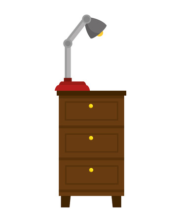 chest of drawers: chest of drawers home furniture wooden with desk lamp. vector illustration Illustration