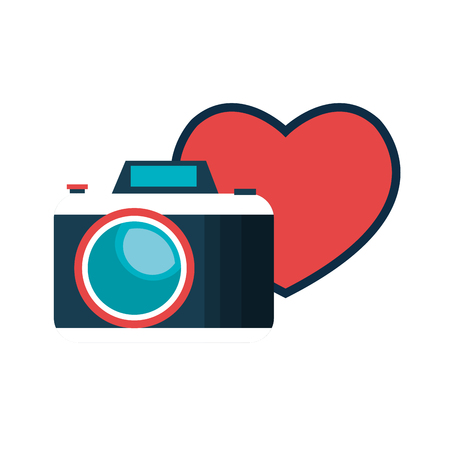 photographic camera device with red heart shape. vector illustration Illustration