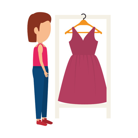 hanging woman: avatar woman with beauty pink dress hanging on hanger. vector illustration