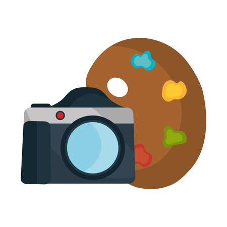 photography equipment: photographic camera device with art paint palette. vector illustration